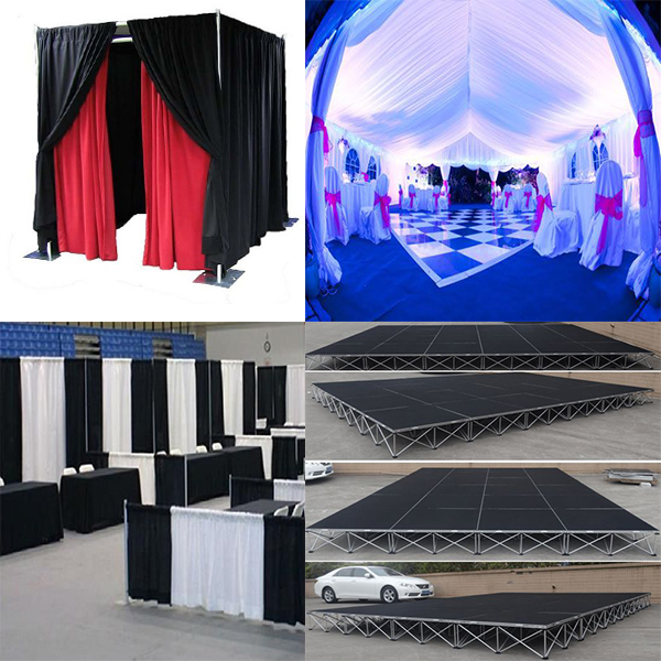 pipe and drape sell,wedding tent,photo booth,trade show booth,star curtains,stage