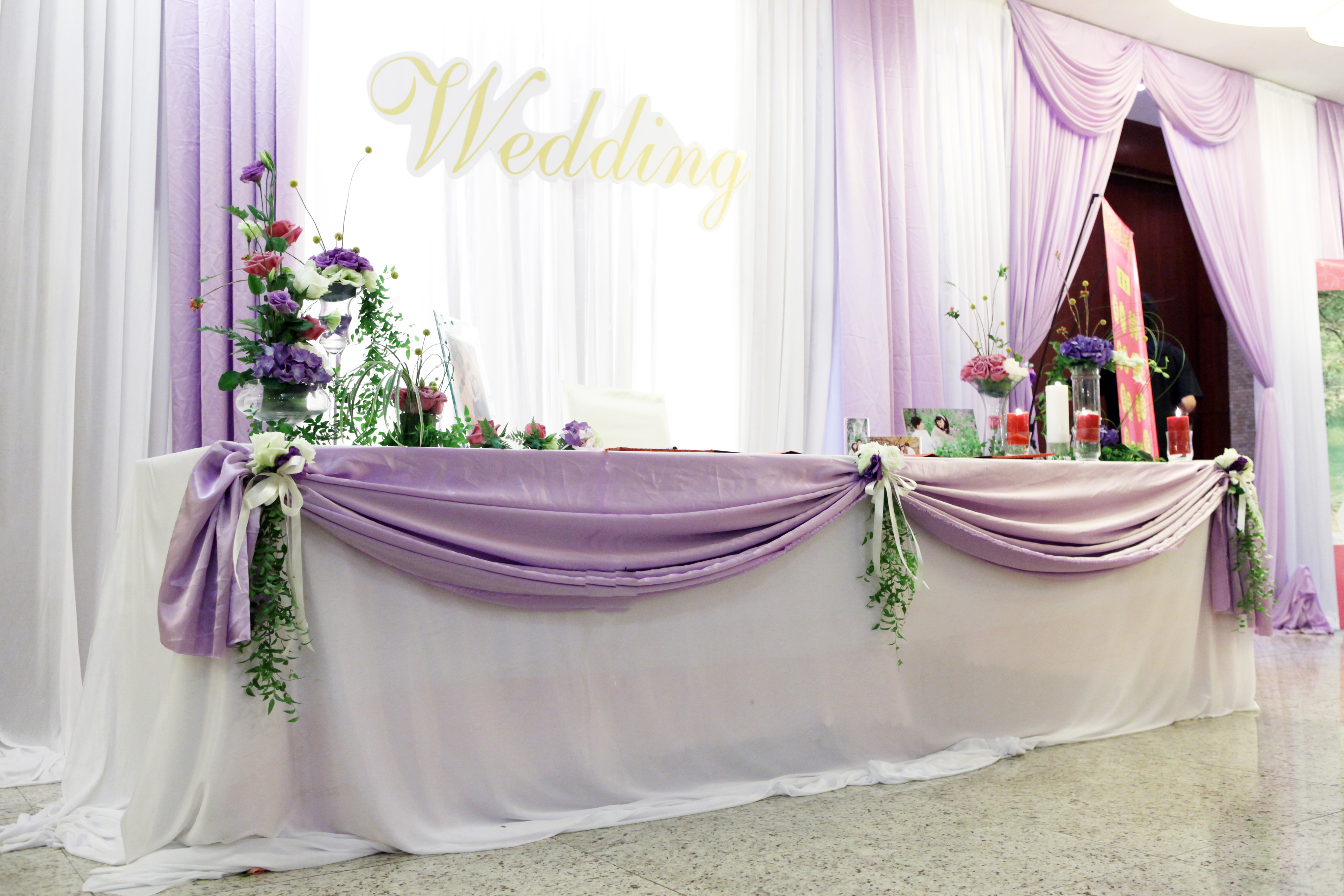 Pipe and drape of wedding backdrop